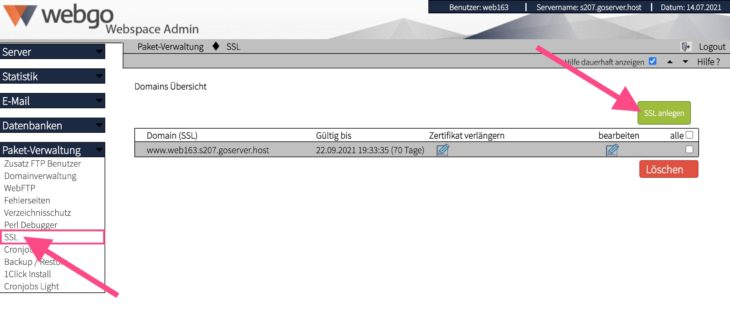 SSL-Zertifikat im webgo Webspace-Admin anlegen