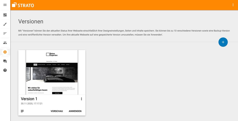 Du kannst mit dem Baukasten verschiedene Versionen deiner Website speichern