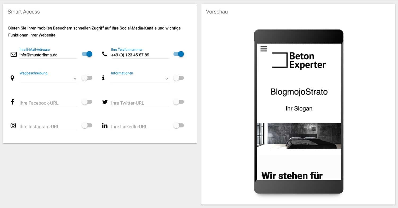 Im Strato Homepage Baukasten lassen sich diverse Einstellungen speziell für mobile Geräte vornehmen