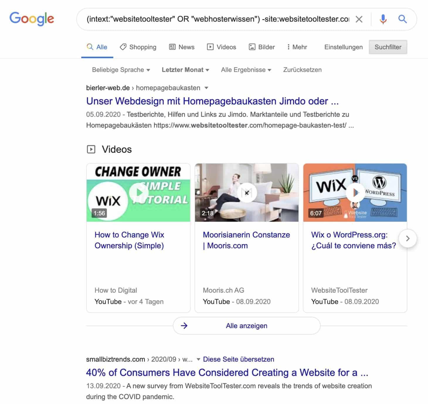 Suchbefehl, um Brand Mentions von Konkurrenten zu finden