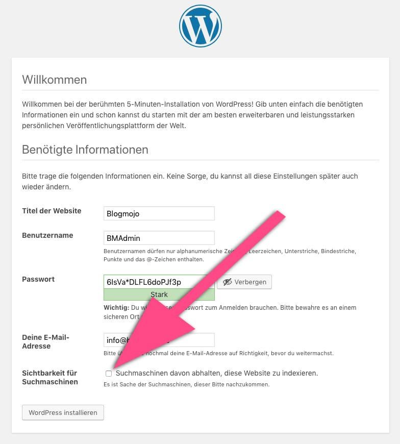 Suchmaschinen davon abhalten, diese Website zu indexieren