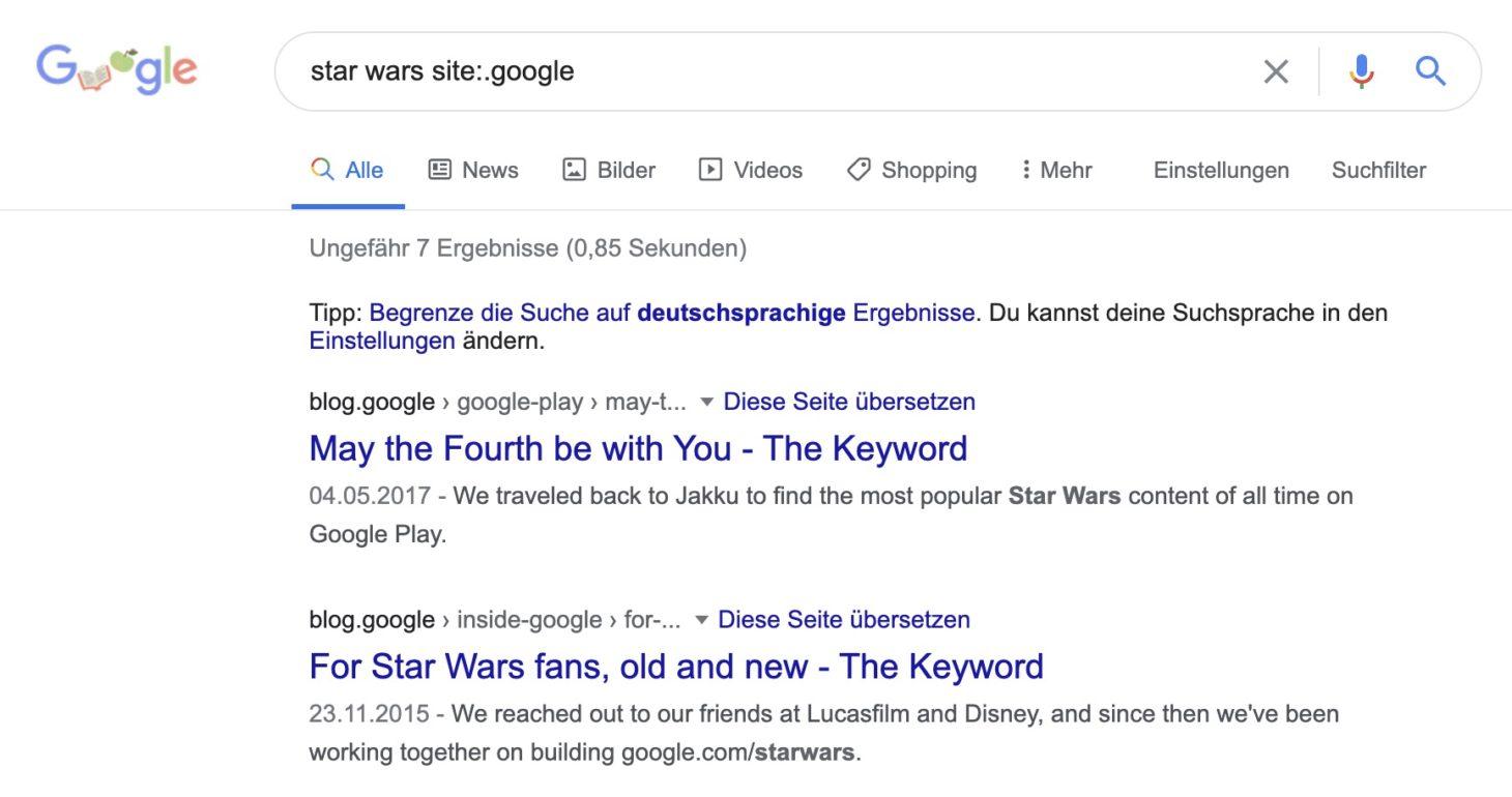 Suchparameter um Googles eigenen Blogs und Websites zu durchsuchen