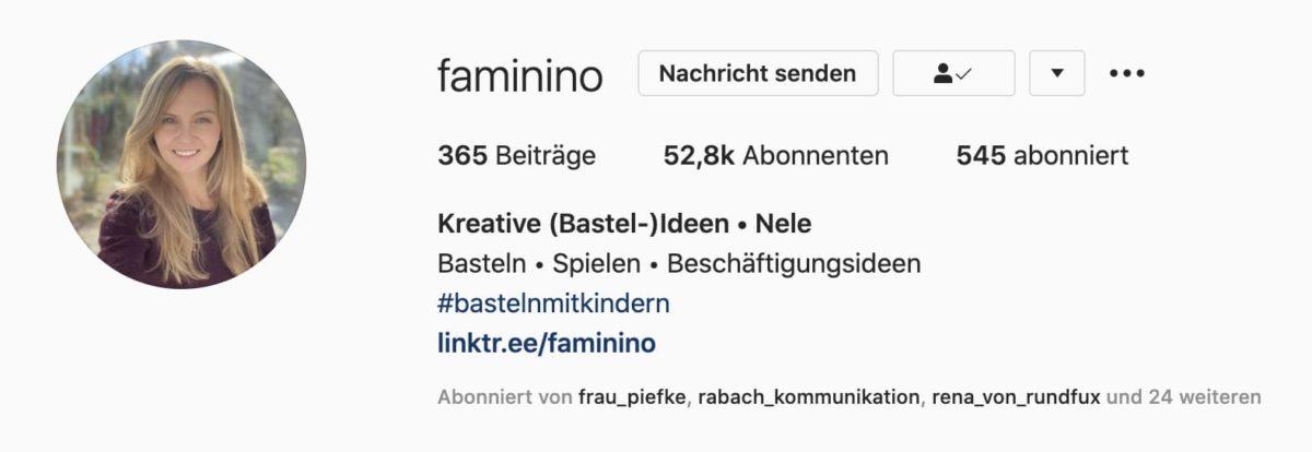 Faminino hat mittlerweile über 50k Follower bei Instagram