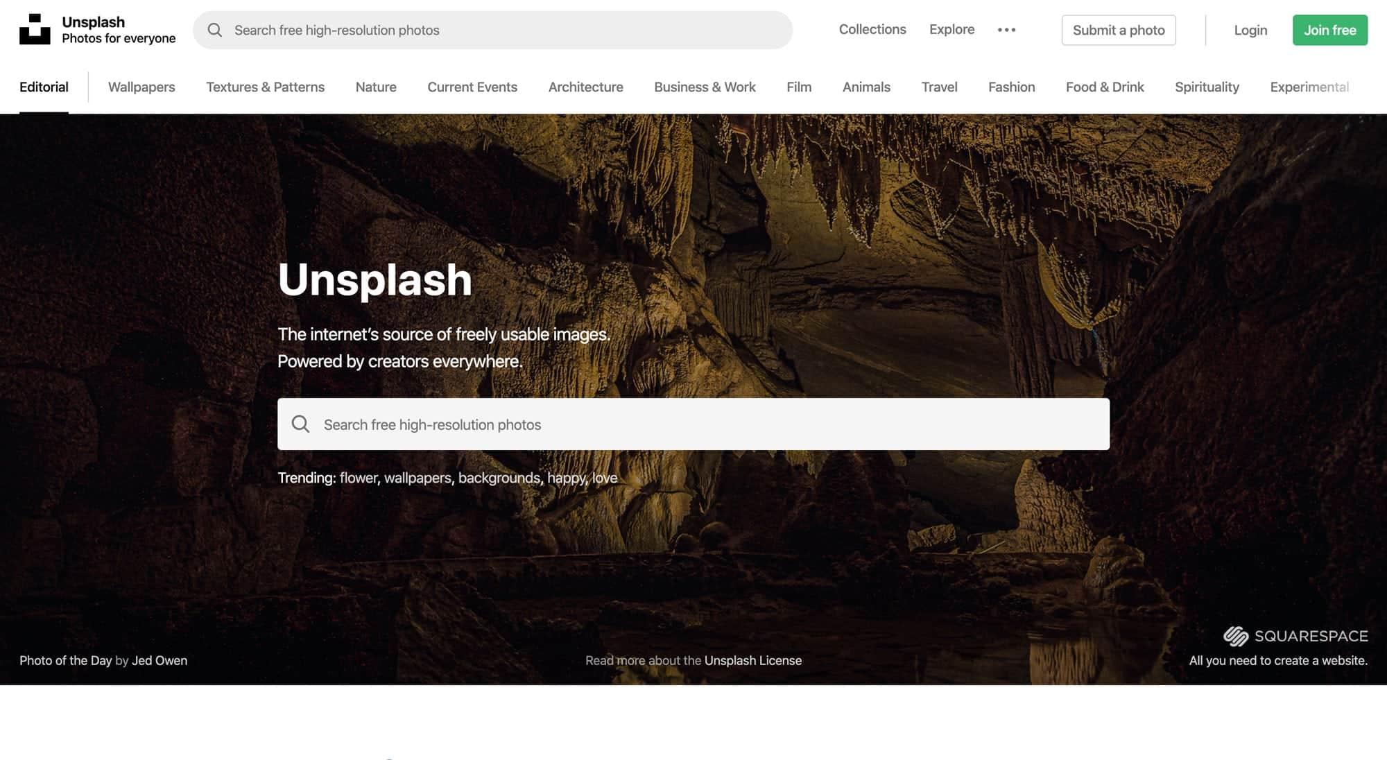 unsplash ist eine große kostenlose Bilddatenbank