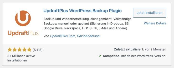 UpdraftPlus ist das Backup-Plugin meiner Wahl