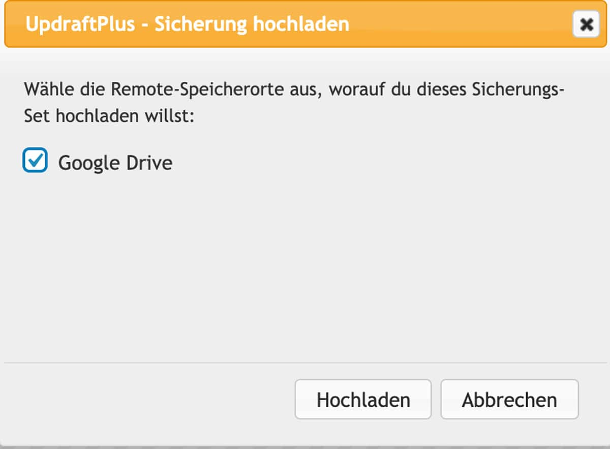 In UpdraftPlus kannst du externe Backups hochladen und wiederherstellen