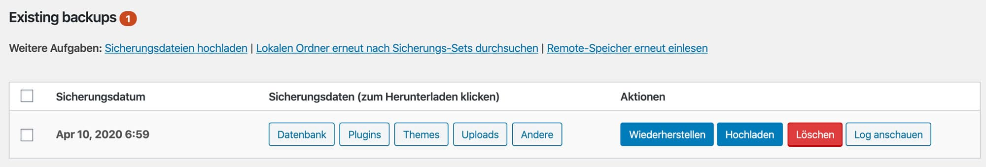 Alle Backups werden in UpdraftPlus im WordPress Backend angezeigt