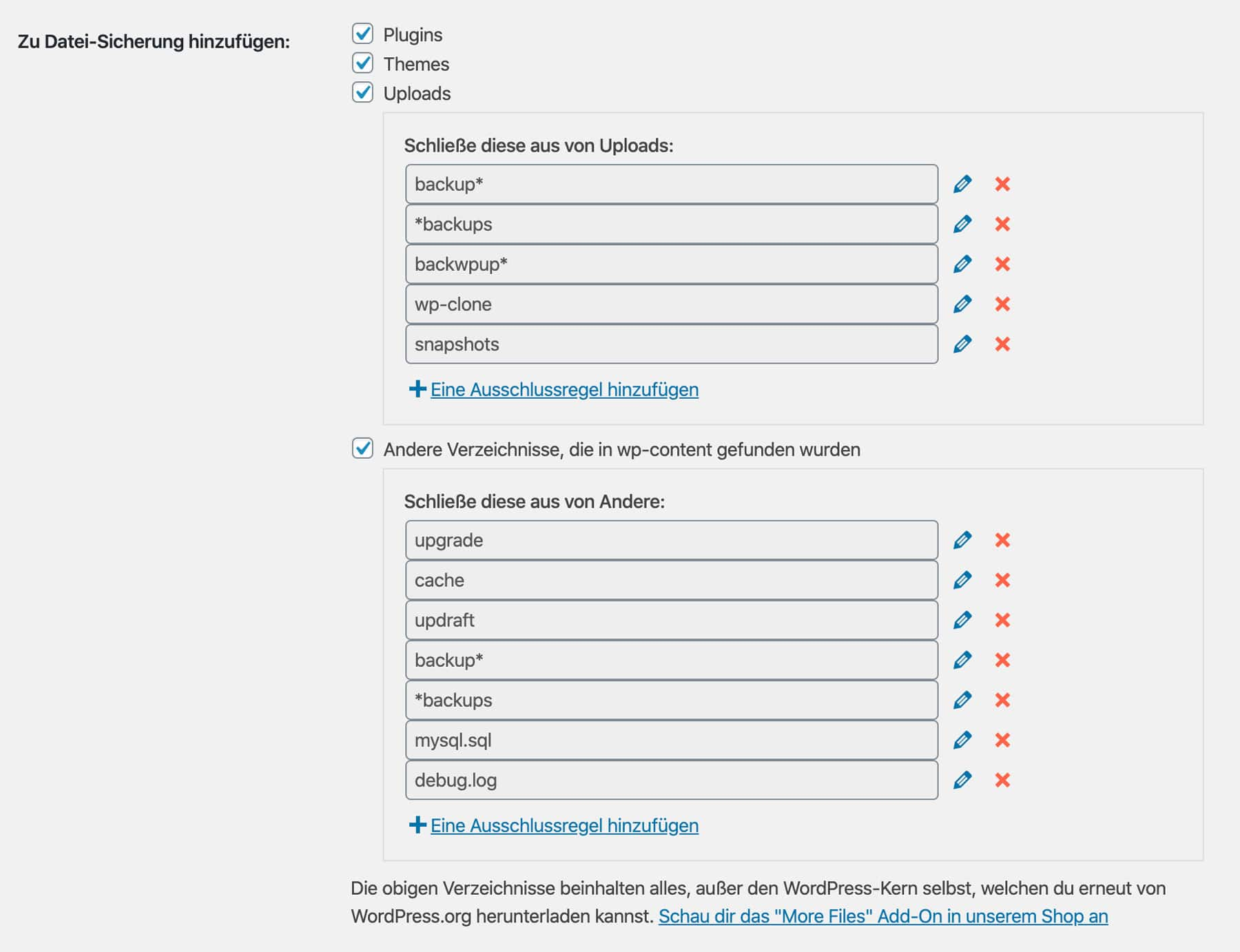 In UpdraftPlus legst du genau fest, welche Dateien gesichert werden sollen und welche nicht