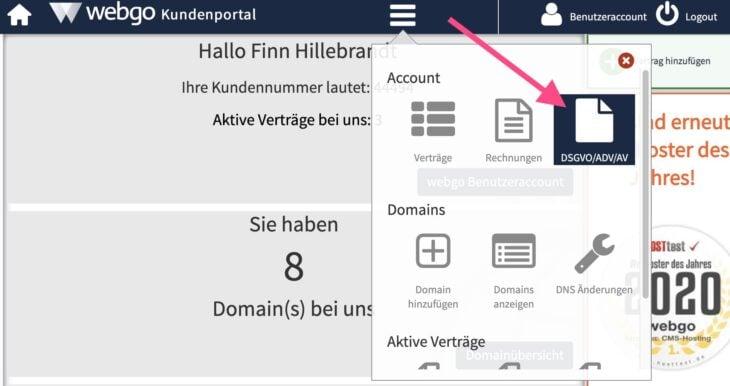 AV-Verträge im webgo-Kundenportal abschließen