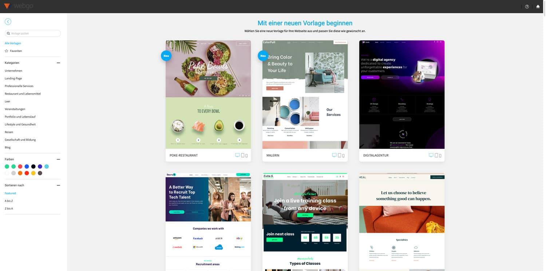 Der webgo Homepage-Baukasten bietet dir zahlreiche vorgefertigte Templates