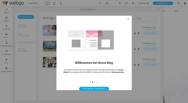 Die Blog Funktion des webgo Homepage-Baukastens ist nicht wirklich gut