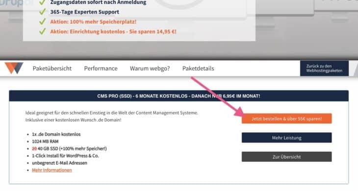 webgo CMS Pro SSD bestellen