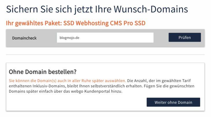 Domaincheck von webgo