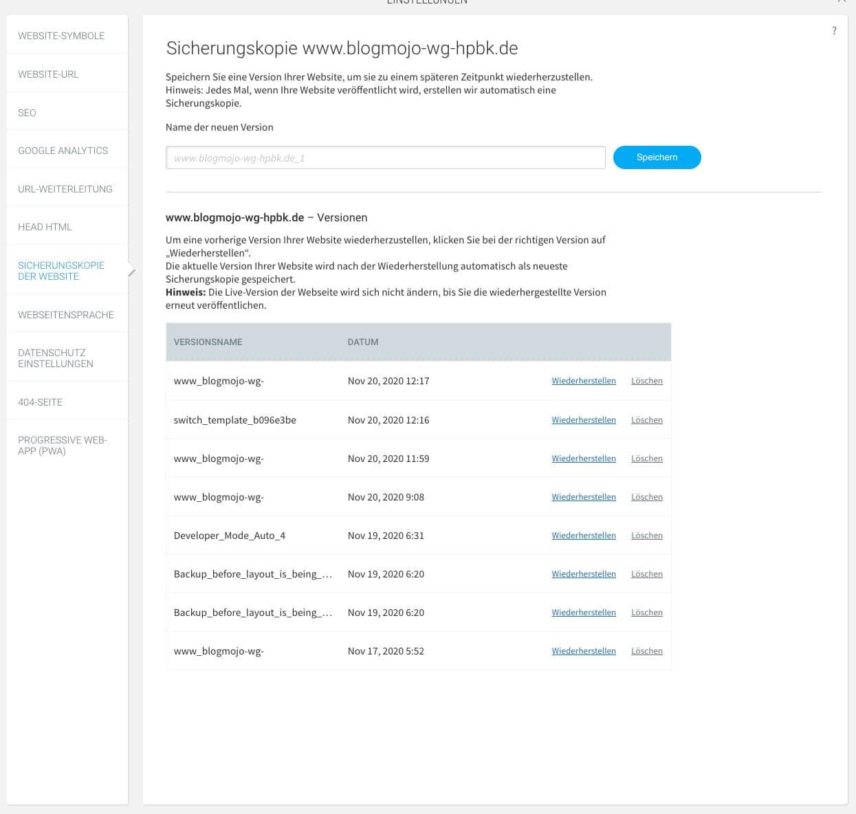 Du kannst beim webgo Homepage-Baukasten jederzeit ein Backup erstellen und dieses wiederherstellen