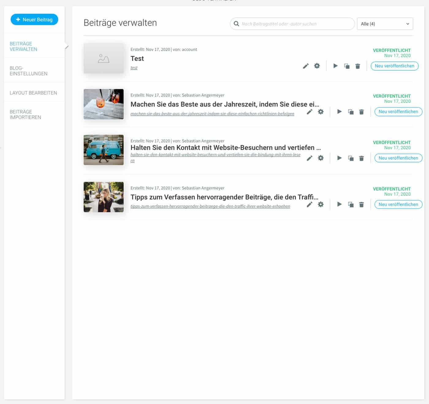 Der webgo Homepage-Baukasten bietet dir einen eigenen Blog. Allerdings gilt hier: Licht und Schatten zugleich