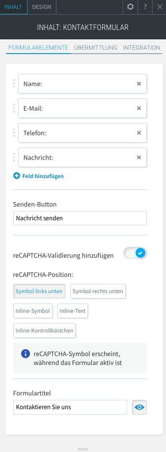 Die Kontaktformulare im webgo Homepage Baukasten lassen sich sehr flexibel anpassen
