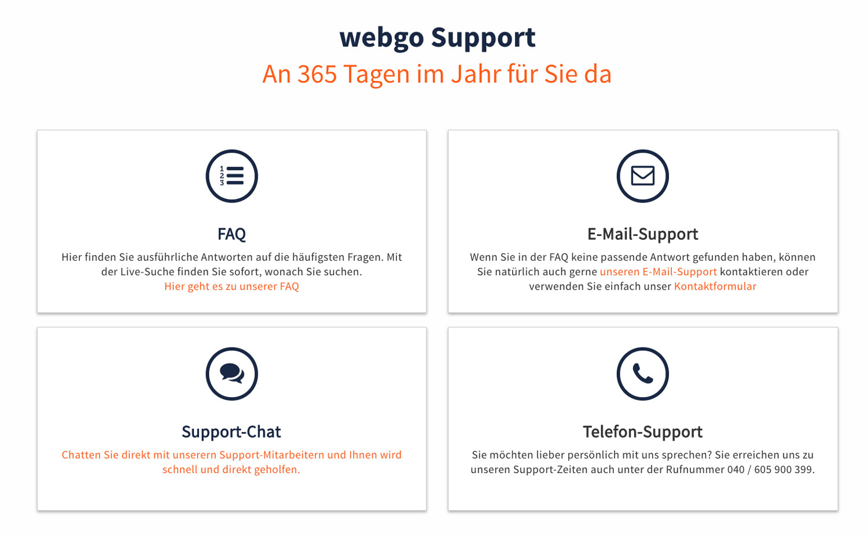 Der Support von webgo hat wirklich bestnoten verdient. Hier bleiben keine Wünsche offen.