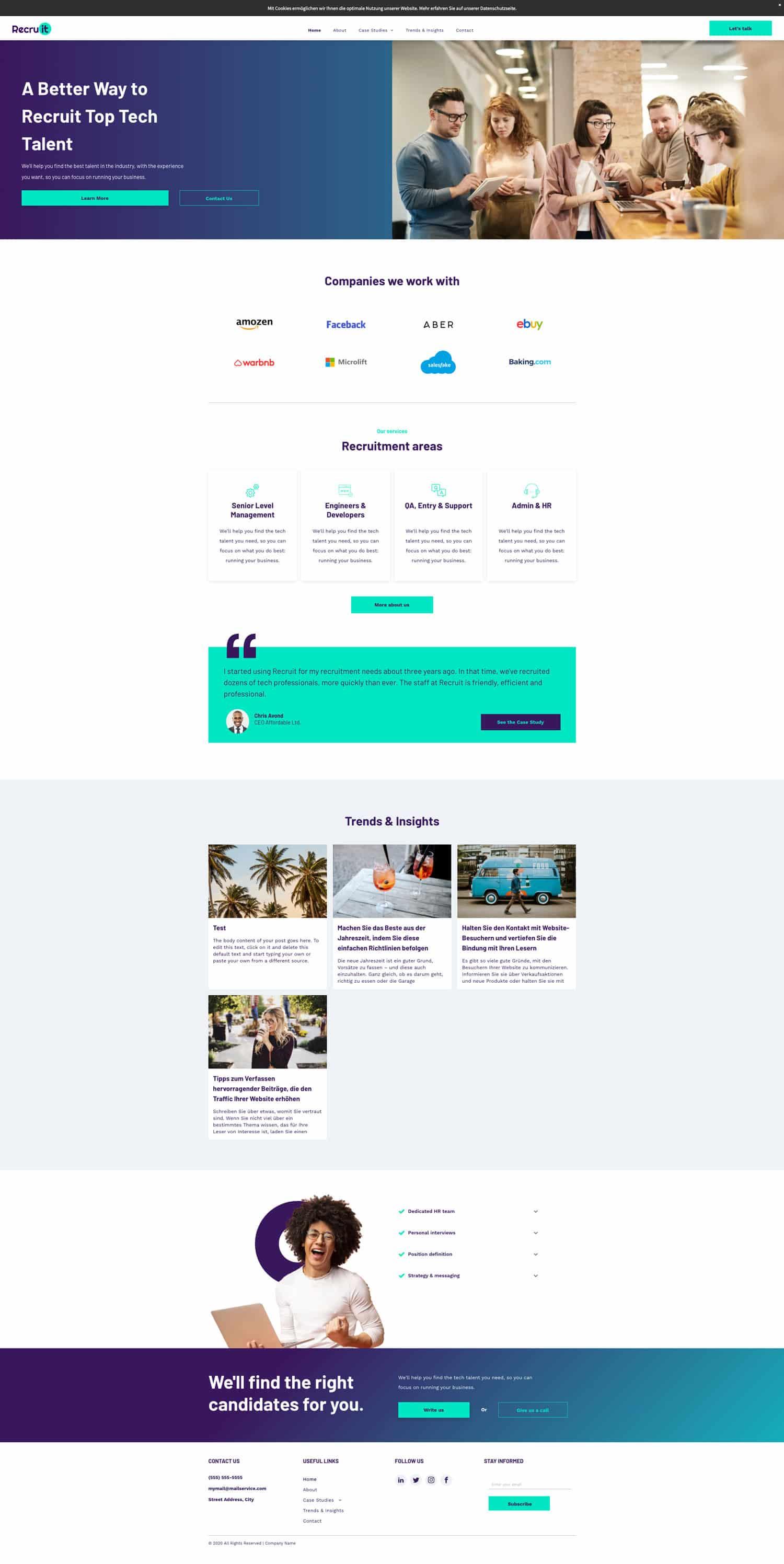 Die Qualität der Templates des webgo Homepage-Baukastens lässt wirklich keine Wünsche offen