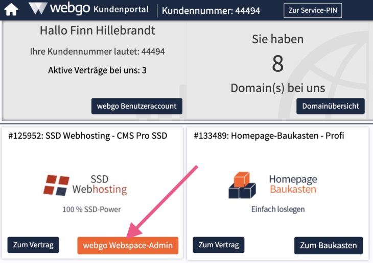 webgo Webspace-Admin öffnen