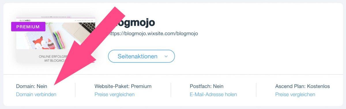 Website bei Wix mit Domain verbinden