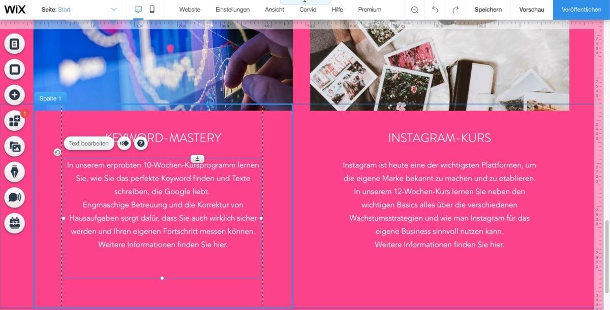 Website per Drag & Drop im Wix-Editor bearbeiten