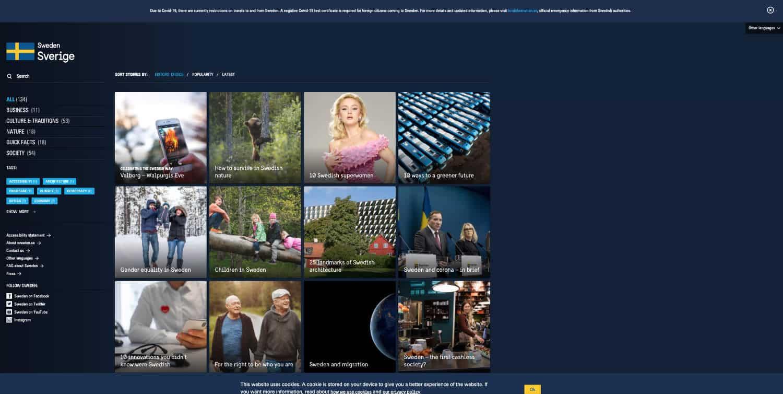 Die Website des Landes Schweden verwendet WordPress