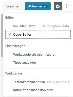 Wechsel vom visuellen Editor zum Code-Editor