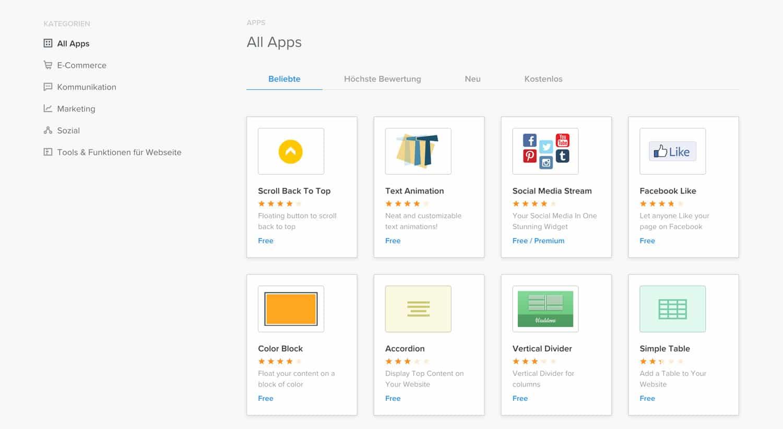 Du kannst Weebly mithilfe zahlreicher Apps perfekt an deine Bedürfnisse anpassen