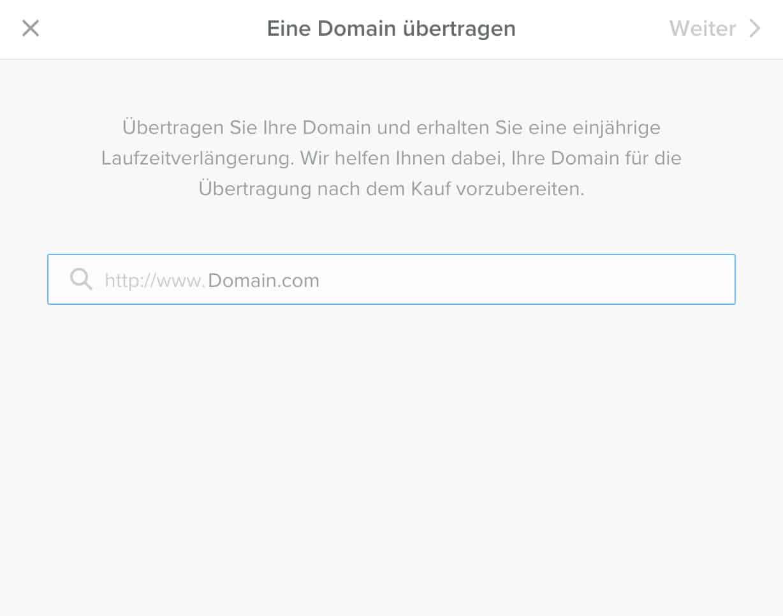 Eine Domain kannst du direkt im Backend zu Weebly übertragen