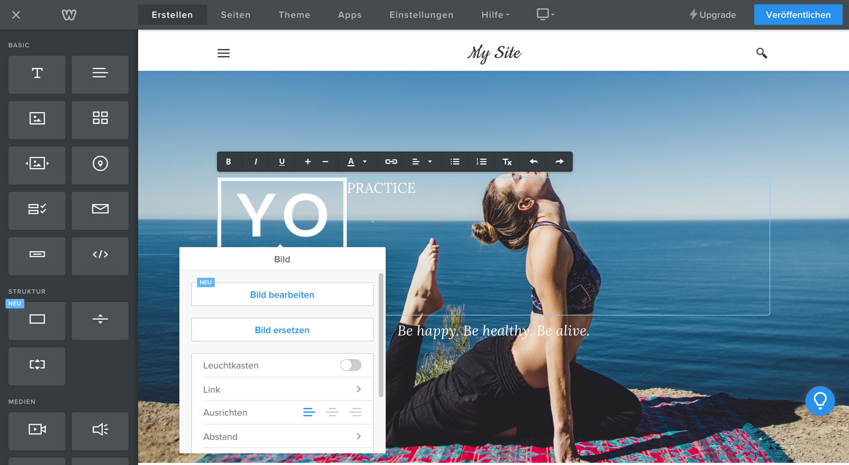 Der Weebly Drag-and-drop-Builder macht es dir besonders einfach, Websiten zu erstellen