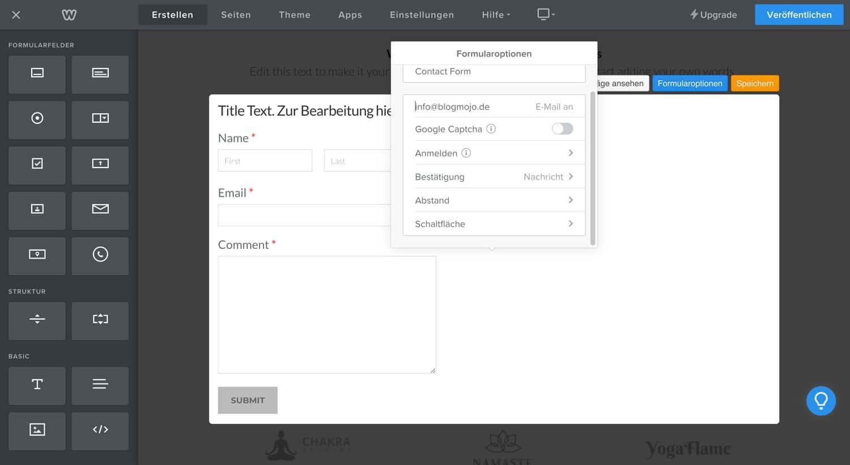 Der Weebly Formular Editor bietet dir die Möglichkeit, einfach und schnell Kontaktformulare auf deiner Website einzubauen