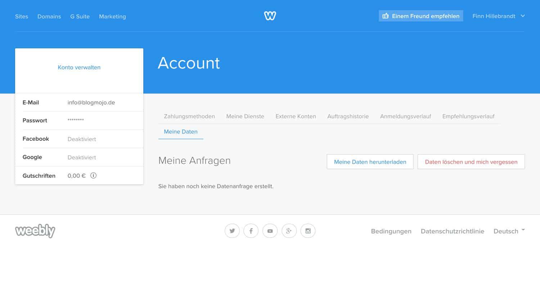 Du kannst dein Weebly Konto in den Account-Einstellungen löschen