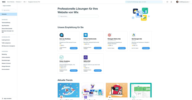 Durch den Wix App Markt lässt sich deine Website individuell anpassen