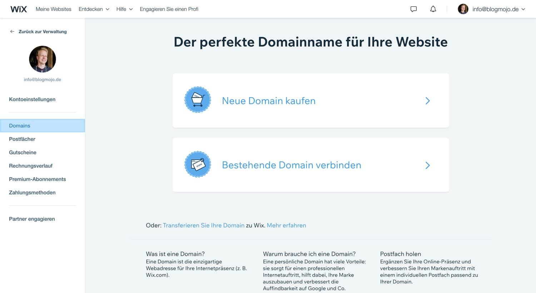 Um bei Wix eine Domain zu registrieren stehen dir mehrere Möglichkeiten zur Verfügung