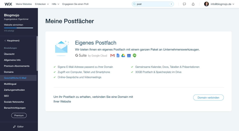 Bei Wix kannst du sehr einfach ein E-Mail-Adresse passend zu deiner Domain einrichten