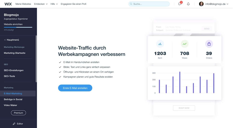 Mit Wix kannst du problemlos Newsletter an deine Kunden versenden