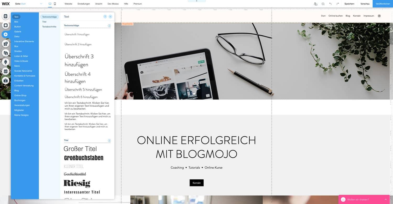 Mit dem Wix Website Editor kannst du eine eigene Website im Handumdrehen erstellen