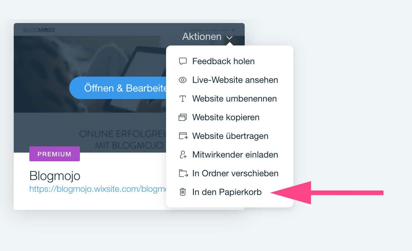 Wix Website dauerhaft löschen