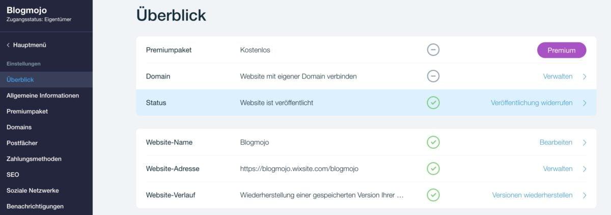 Wix-Website offline nehmen