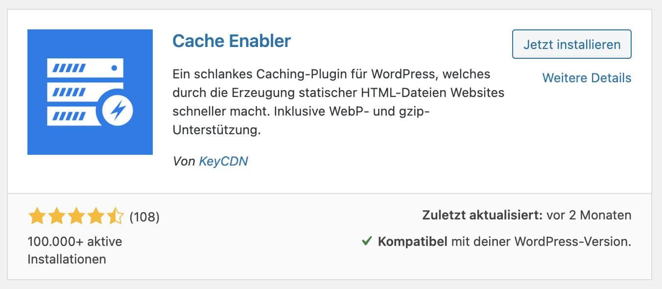 Mithilfe von Cache Enabler kannst du deine Website schneller machen