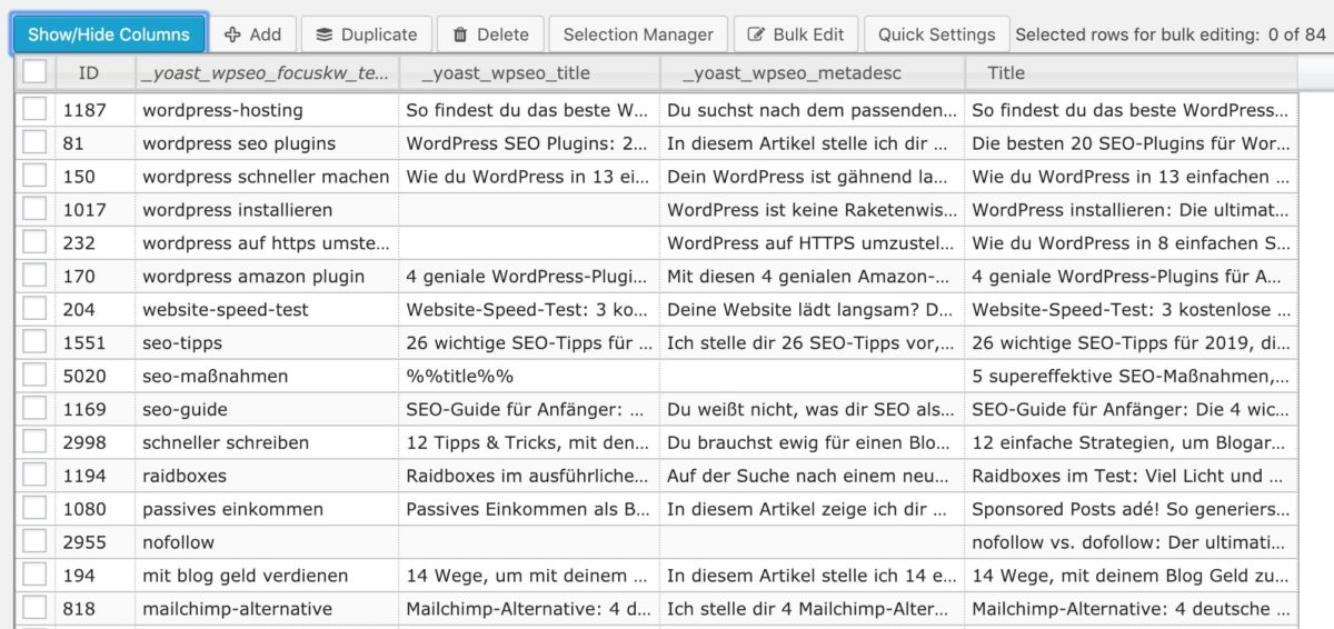 Meta-Daten von Yoast SEO mit WordPress Advanced Bulk Edit anpassen
