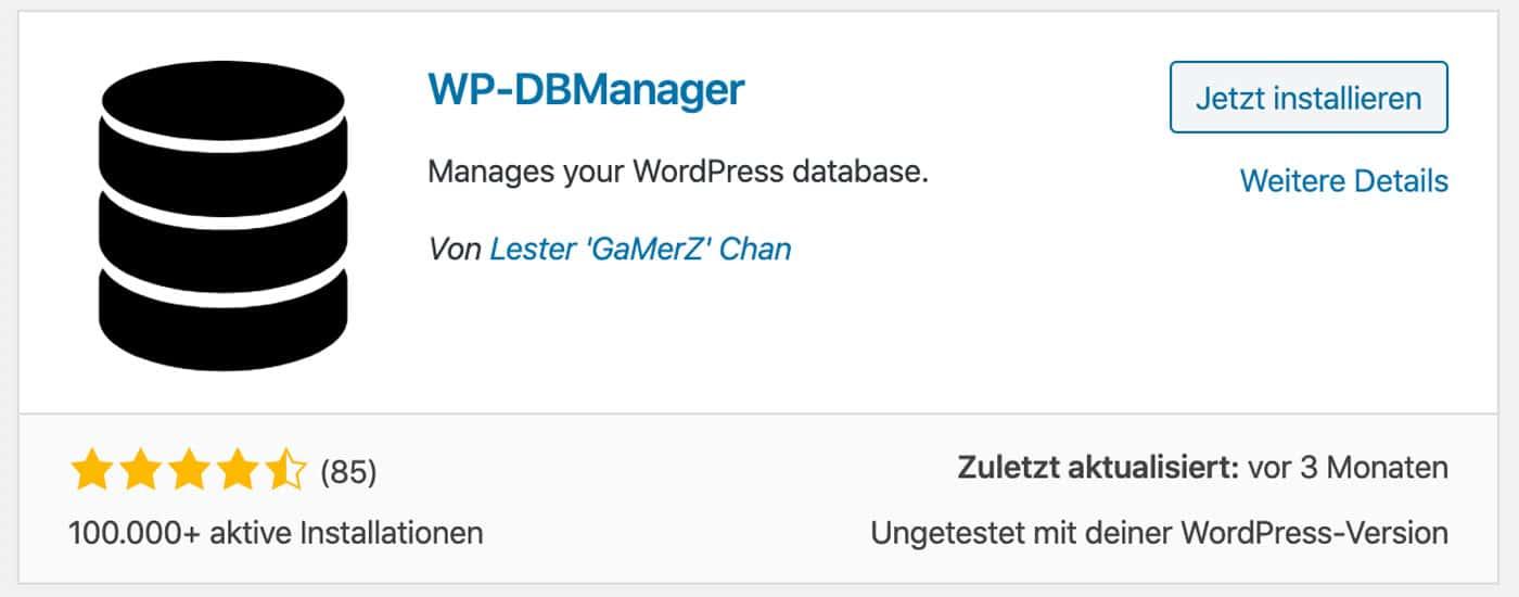 Der WordPress DB-Manager lässt dich deine Datenbank sichern