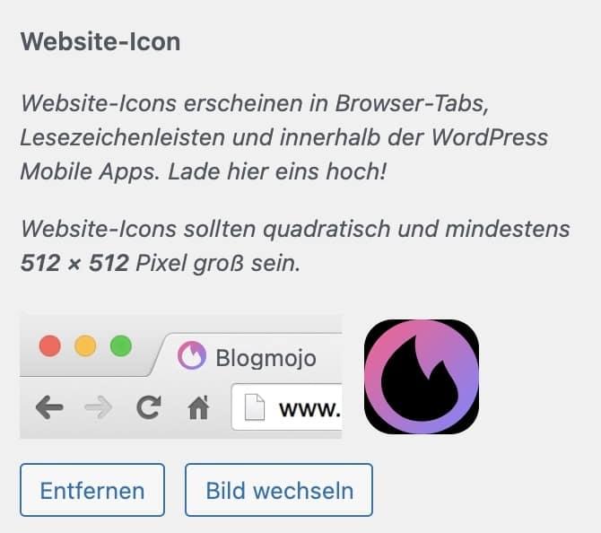 Website-Icon im WordPress-Customizer festlegen