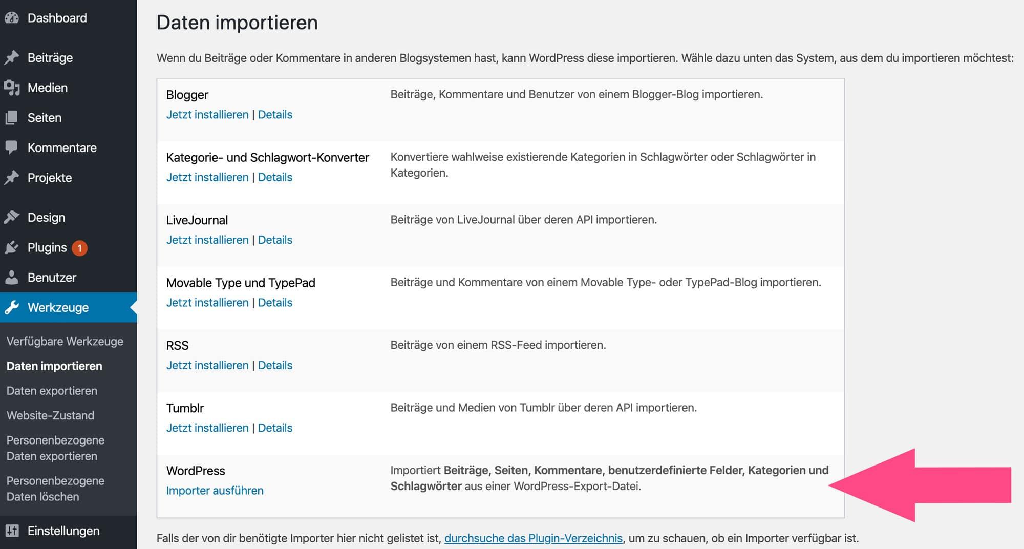 Mit dem WordPress Importer kannst du einzelne Beiträge wiederherstellen
