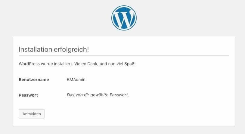 WordPress-Installation erfolgreich