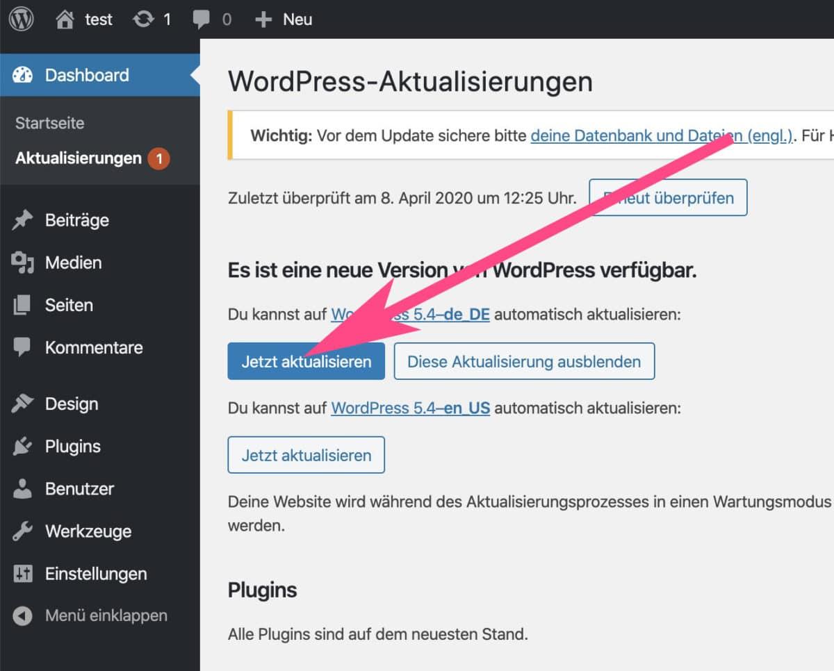 WordPress jetzt aktualisieren