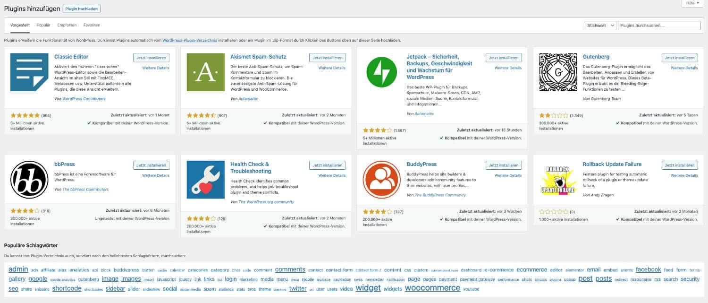 In der WordPress Plugin Bibliothek findest du zahlreiche Erweiterungen