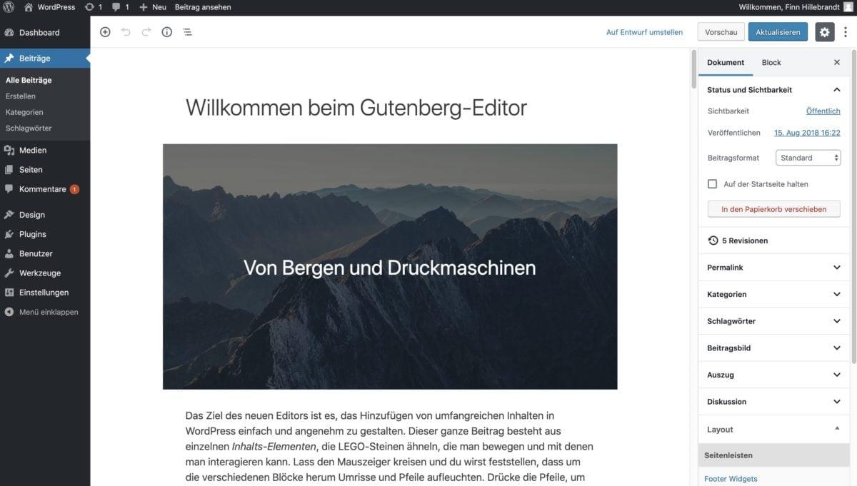 Einzelne Seiten und Beiträge lassen sich in WordPress mit dem Gutenberg-Editor erstellen
