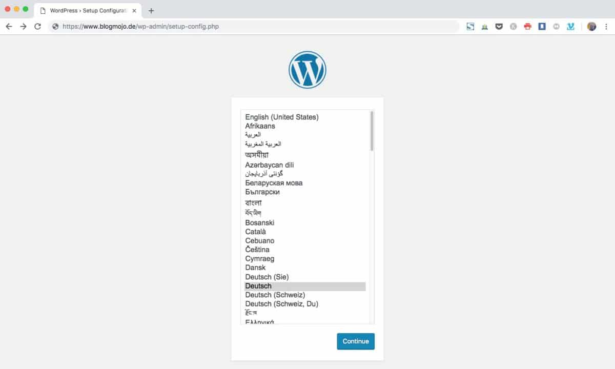 WordPress Sprachauswahl