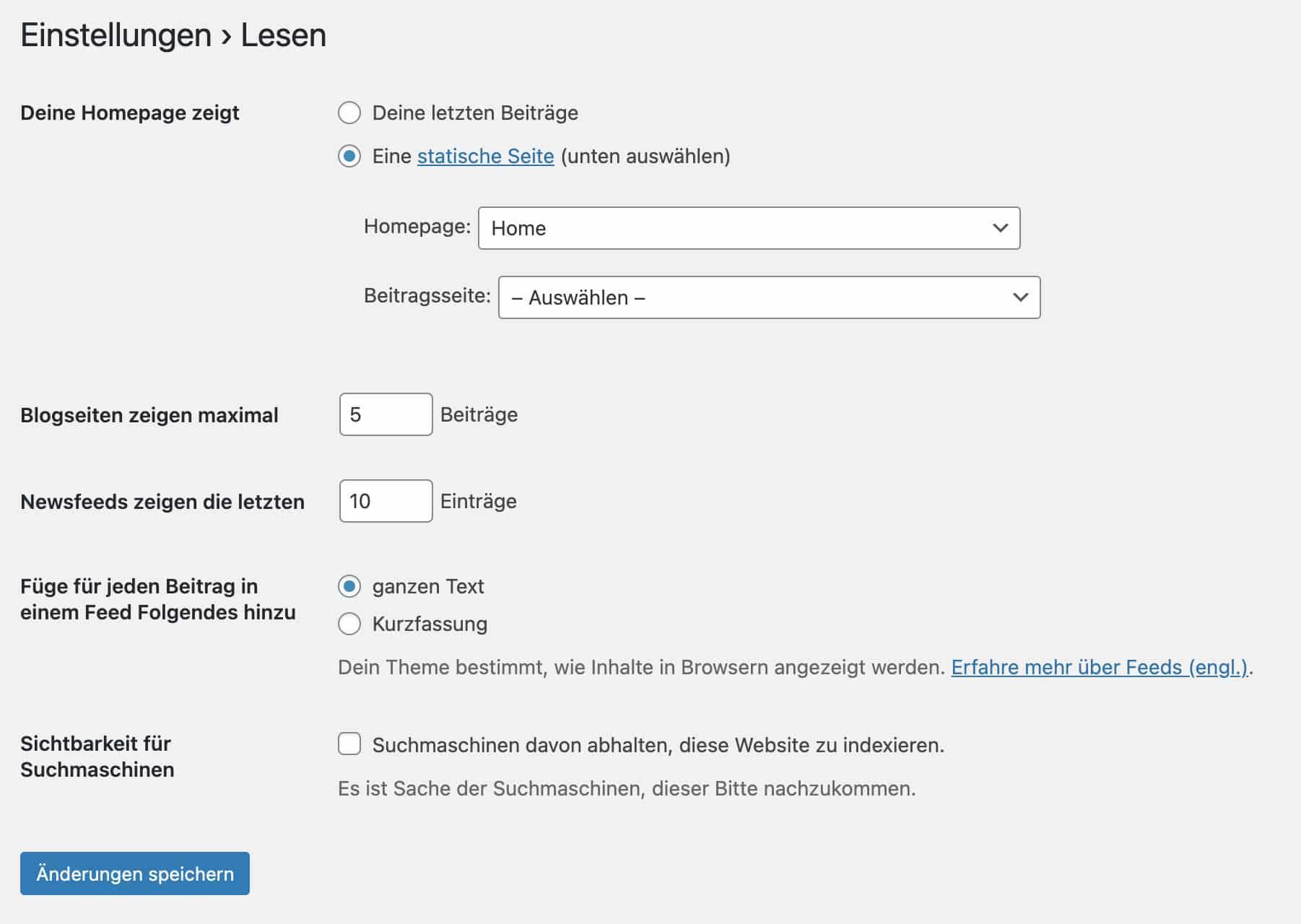 Es ist definitiv zu empfehlen, in WordPress eine Startseite anzulegen und nicht die letzten Beiträge anzeigen zu lassen